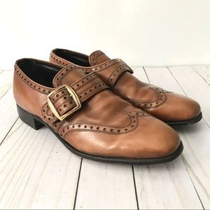 Nettleton Loaflex Brown Leather Wingtip Shoes Sz 8